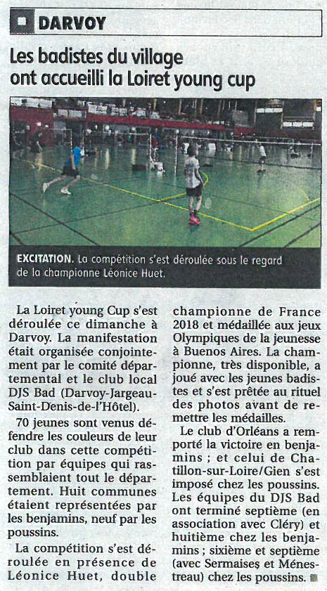 La République du Centre - le 15 mai 2019 - article sur La Loiret Young Cup
