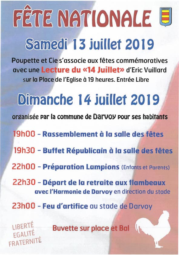 Affiche Fête Nationale 2019 à Darvoy